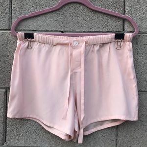 Sleepy Jones Pink Silk Pajama Shorts
